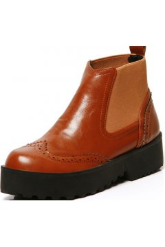 Brown Leather Vintage Platforms Chunky Thick Sole Ankle Boots Shoes