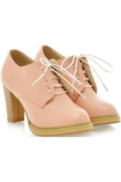 Pink Old School Oxfords Lace Up High Heels Ankle Boots Booties Women Shoes