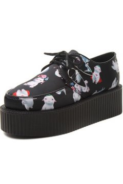 Black Cute Super Sheep Cartoon Platforms Punk Rock Lace-Up Oxfords Flats Creepers Shoes