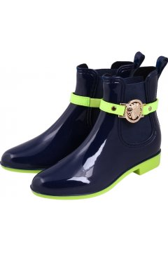 Dark Blue Neon Yellow Gold Medusa Punk Rock Gothic Wellington Wellies Ankle Rain Boots