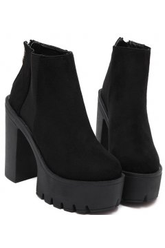 Black Suede Chunky Sole Heels Platforms Ankle Boots Shoes