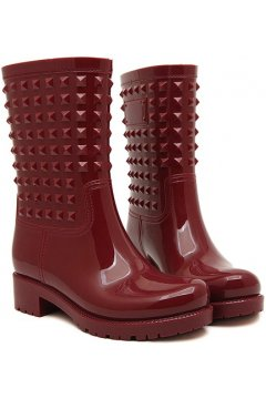 Red Burgundy Polyresin Square Studs Punk Rock Gothic Wellington Wellies Ankle Rain Boots Shoes