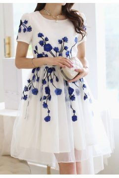 ​White Organza Blue Embroidery Flowers Short Sleeves Skater Skirt Dress