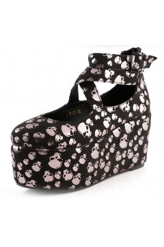 ​Silver Skulls Black Suede Ankle Cross Strap Ballets Platforms Mary Jane Lolita Gothic Flats