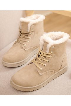 Suede Brown Khaki Woolen Furry Lace Up Sneakers Winter Snow Boots