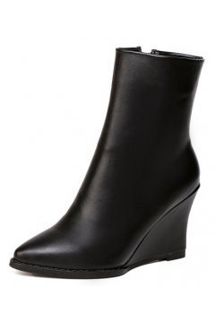 Black Leather Point Head Wedges High Top Boots Shoes