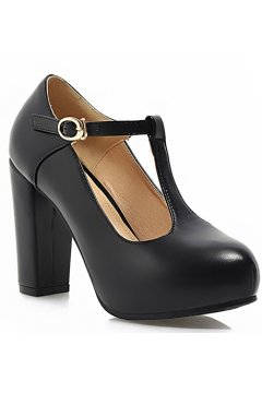 ​Black Old School Vintage T Strap Platform Heels Mary Jane Shoes