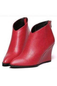 Red Leather Point Head Wedges Ankle Boots Shoes