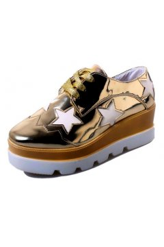 Gold Metallic Patent Leather White Stars Lace Up Platforms Wedges Oxfords Women Shoes