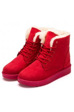 Suede Red Woolen Furry Lace Up Sneakers Winter Snow Boots