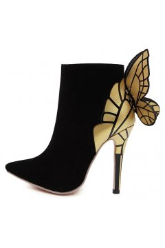 Black Butterfly Stiletto High Heels Point Head Ankle Boots Women Shoes