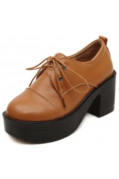 Lace Up Brown Old School Vintage Platforms Oxfords Chunky Boots Shoes