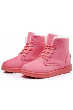 ​Suede Pink Woolen Furry Lace Up Sneakers Winter Snow Boots