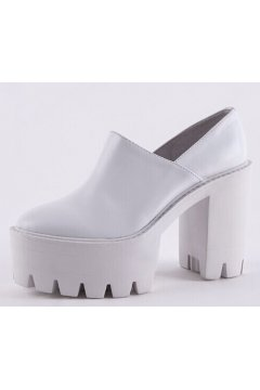 White Leather Zipper Gothic Chunky Sole Heels Platforms Shoes