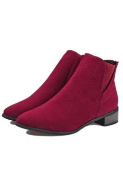 Burgundy Point Head Suede Chelsea Ankle Flat Boots