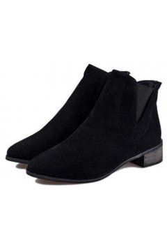 ​Black Point Head Suede Chelsea Ankle Flat Boots