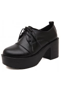 Lace Up Black Old School Vintage Platforms Oxfords Chunky Boots Shoes