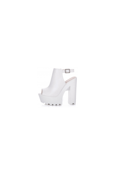 ​Suede White Sole Platforms Chunky Heels Peeptoe Slingback Sandals Shoes