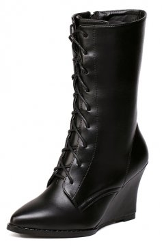 ​Black Leather Point Head Wedges Lace Up High Top Boots Shoes