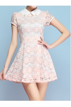 ​Blue Pink Purple Lace Crochet White Peterpan Collar Short Sleeves Skirt Dress