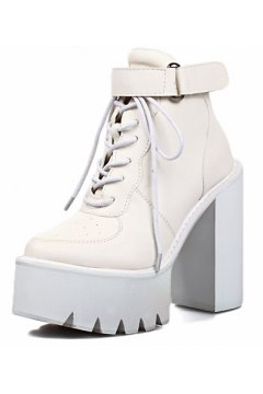 Black White Leather Lace Up Platforms Chunky Sole Heels Ankle Military Women Boots Shoes