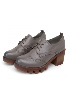 ​Lace Up Grey Old School Vintage Platforms Oxfords Chunky Boots Shoes