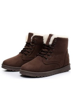 Suede Brown Woolen Furry Lace Up Sneakers Winter Snow Boots