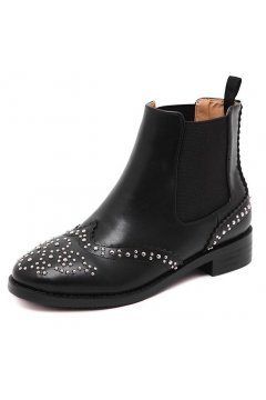 Black Metal Studs Punk Rock Old School Country Vintage Gothic Ankle Boots