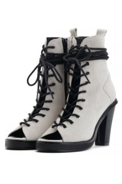 Grey Suede Punk Rock Lace Up Gladiator Peep toe Military Ankle Heels Boots Shoes