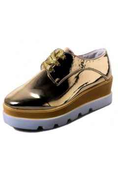 Gold Metallic Patent Leather Lace Up Platforms Wedges Oxfords Women Shoes