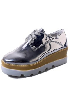 Silver Metallic Patent Leather Lace Up Platforms Wedges Oxfords Women Shoes