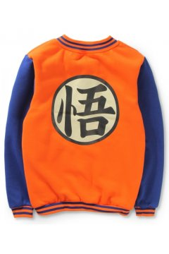 ​Orange Blue Dragon Ball Goku Mens Long Sleeves Baseball Avation Jacket Coat