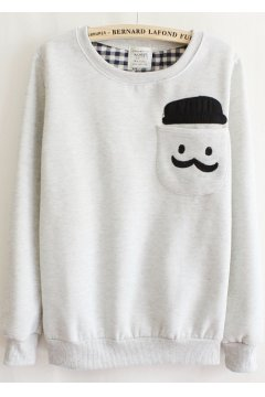 Mustache Hat Man Pocket Grey Long Sleeves Sweater Sweatshirt