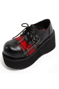 Black Red Tartan Scotland Checkers Plaid Lolita Creepers Platforms Chunky Sole Heels Shoes
