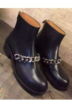 Black Silver Metal Chain Leather Punk Rock Ankle Women Military Combat Boots Shoes