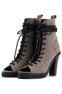 Khaki Brown Suede Punk Rock Lace Up Gladiator Peep toe Military Ankle Heels Boots Shoes