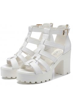 White Strappy Straps Gladiator Platforms Punk Rock Gothic Heels Sandals Shoes