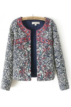 ​Blue Quilted Embroidery Floral Flowers Tribal Retro Vintage Pattern Long Sleeves Jacket