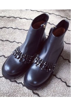 ​Black Diamante Chain Leather Punk Rock Ankle Women Military Combat Boots Shoes