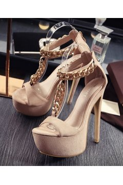 Suede Beige Metal Gold Chain Platforms S Strap Stiletto High Heels Sandals
