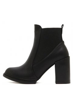 ​Black Point Head Punk Rock Leather Ankle Gothic Mid Heels Boots Shoes