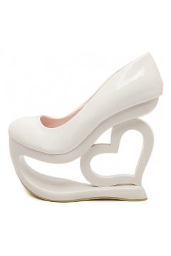 ​Patent White Platforms Wedges Weird High Heart Heels Shoes