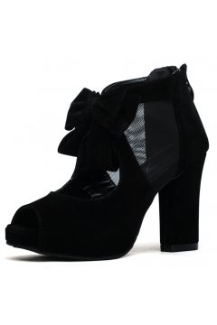 ​Suede Bow Black Platforms High Heels Peeptoe Sandals Shoes