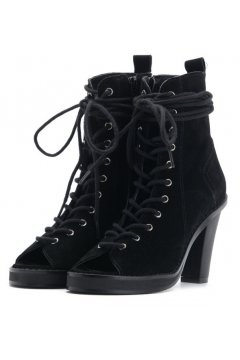​Black Suede Punk Rock Lace Up Gladiator Peep toe Military Ankle Heels Boots Shoes