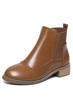 Orange Brown Leather Vintage Wooden Sole Ankle Boots Shoes