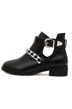Black Leather Strappy Straps Silver Metal Buckles Punk Rock Grunge Gothic Ankle Boots
