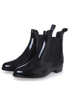 Black Polyresin Glossy Punk Rock Gothic Wellington Wellies Ankle Rain Boots Shoes
