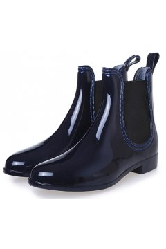 Dark Blue Polyresin Glossy Punk Rock Gothic Wellington Wellies Ankle Rain Boots Shoes
