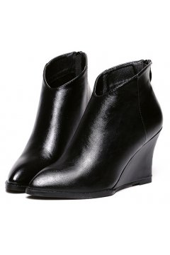 ​Black Leather Point Head Wedges Ankle Boots Shoes
