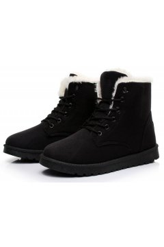 Suede Black Woolen Furry Lace Up Sneakers Winter Snow Boots